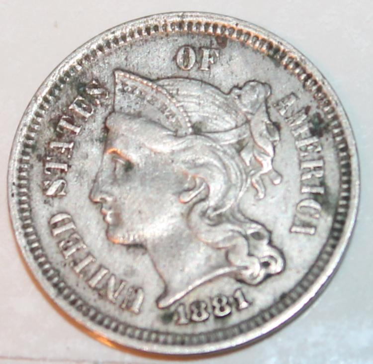 Lot 152: 1881 Nickel Three Cent Piece Coin EF-40 Or Better