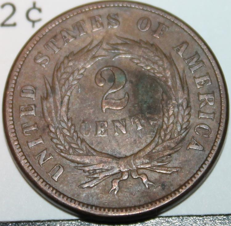 Lot 154: 1865 Two Cent Piece Coin EF-40