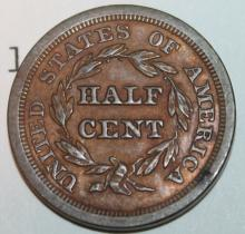Lot 155: 1854 Braided Hair Half Cent Coin AU-50 Or Better