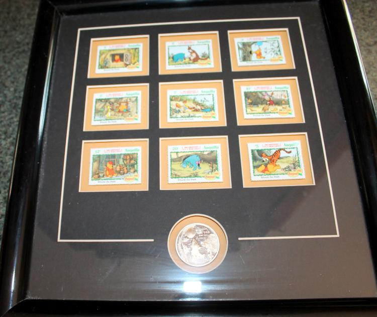 """Walt Disney Limited Edition """" Pooh And Friends With Silver Medallion"""" Stamp Set With COA"""