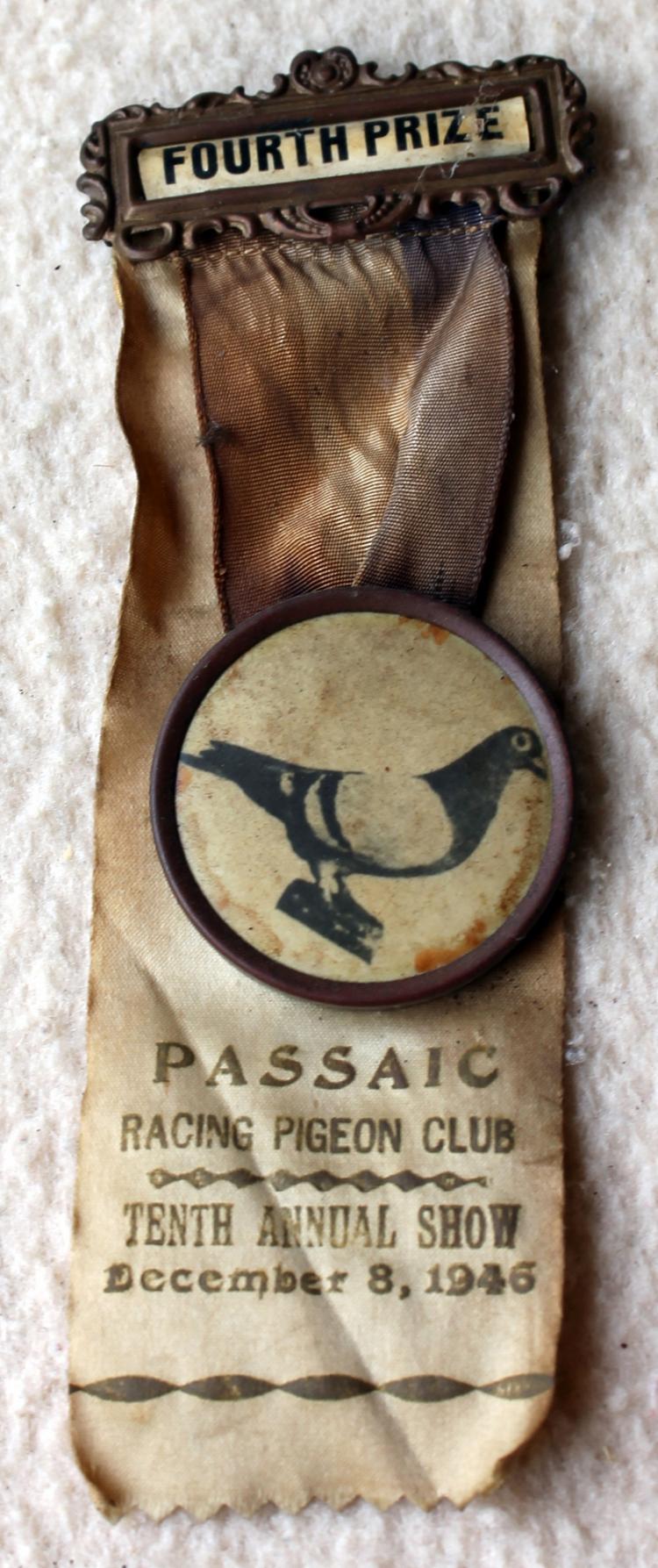 1946 Passaic NJ Racing Pigeon Club 4th Place Pin back With Ribbon