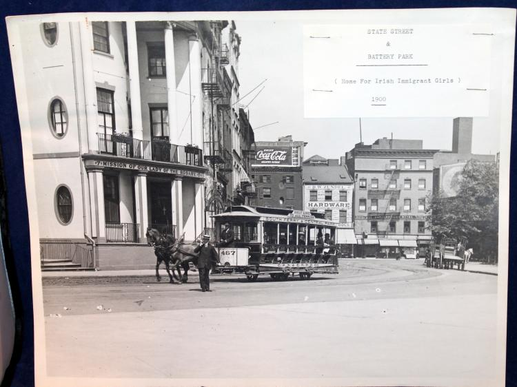 "c1900 Original Photograph ""State Street & Battery Park"" Horse Drawn Trolley New York City"