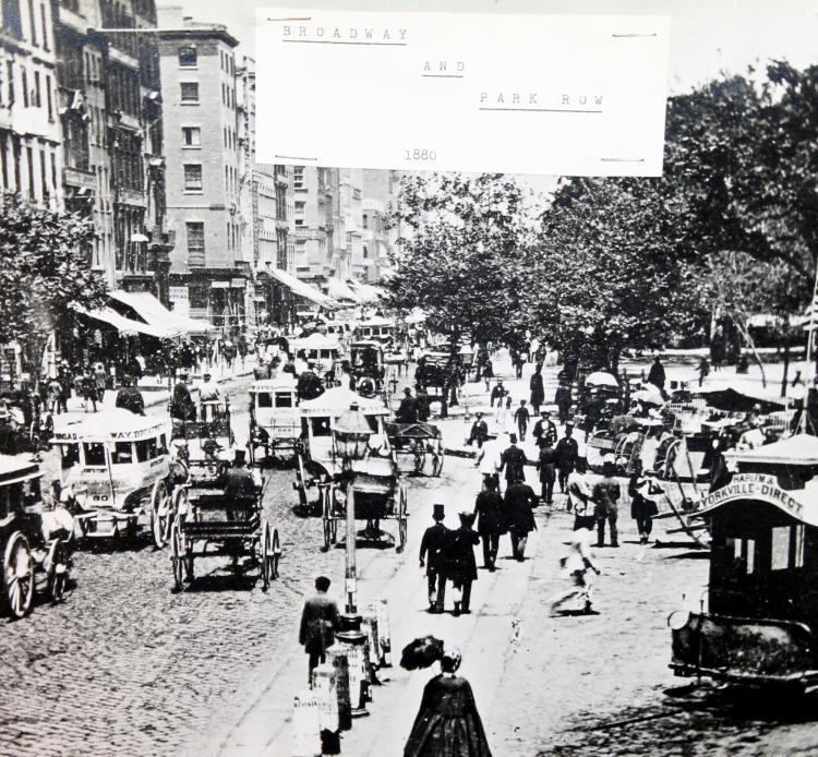 "c1880 Original Photograph ""Broadway And Park Row"" New York City"