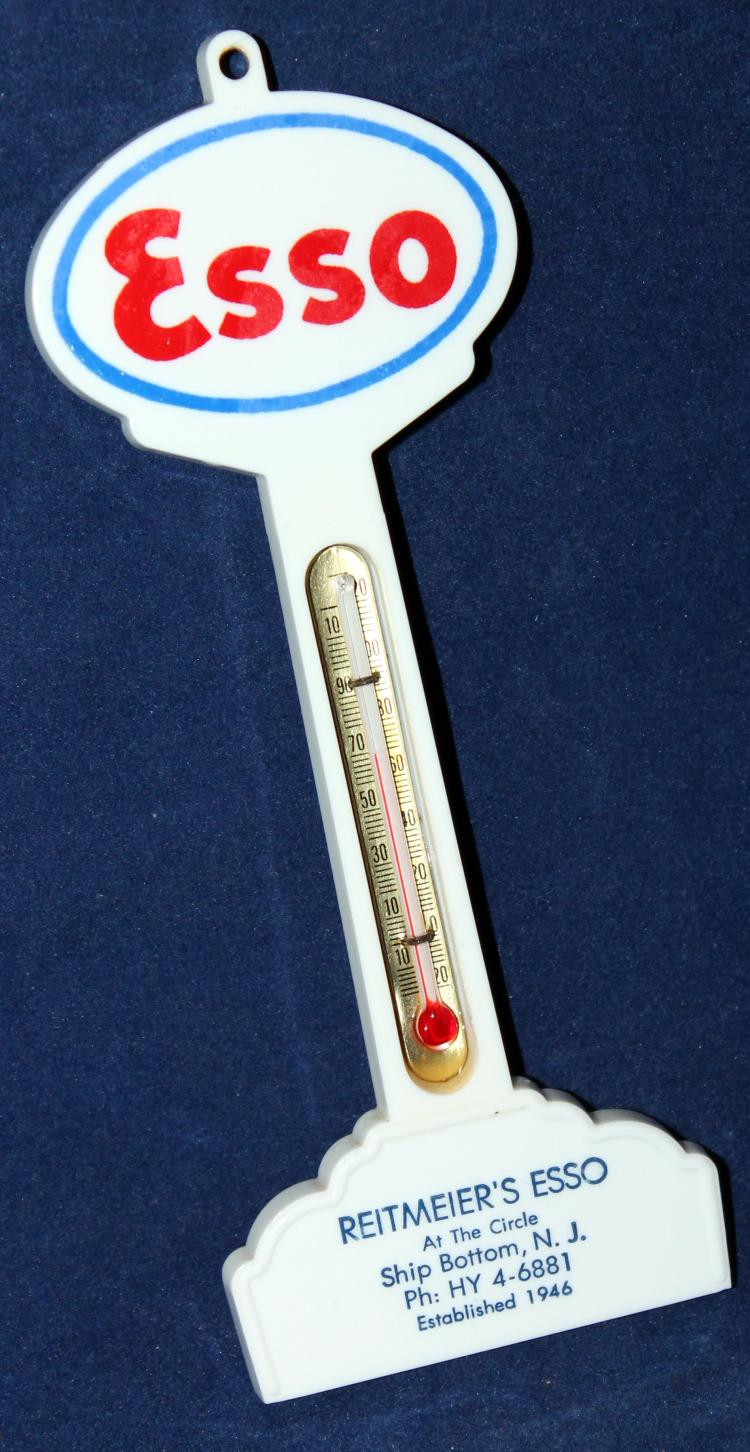c1947 Reitmeire's Esso At The Circle Ship Bottom New Jersey Thermometer Premium