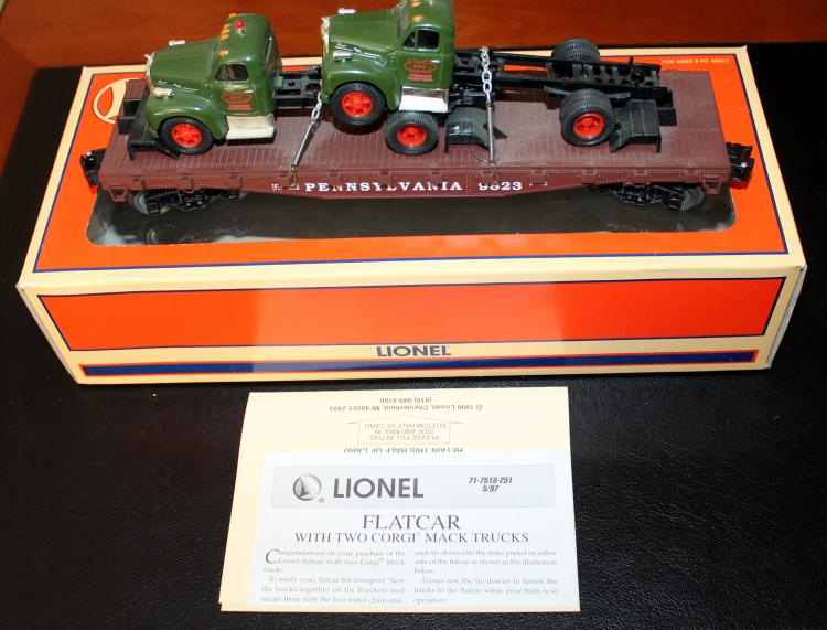 Lionel Trains PRR Standard O Flat Car With 2 Corgi Mack Trucks #6-17518