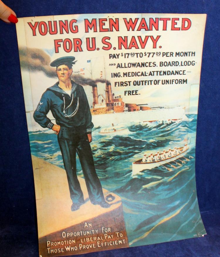 Original World War I U. S. Navy Recruitment Poster