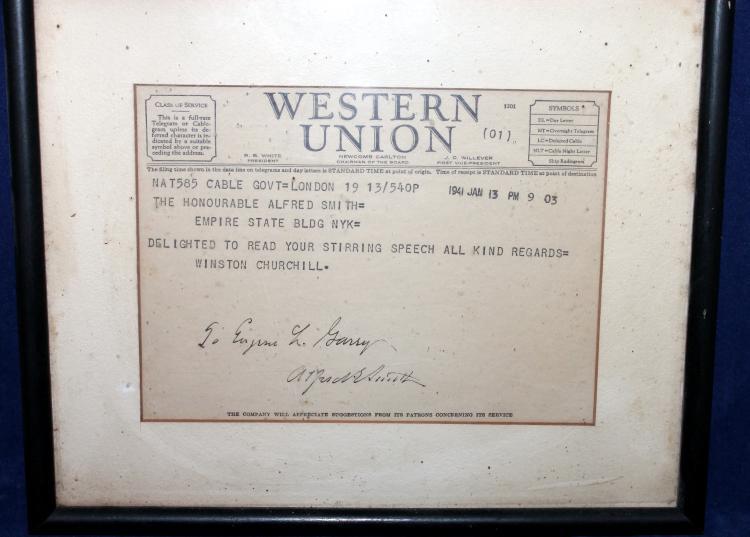 Winston Churchill Telegram To NY Governor Alfred Smith Jan 13, 1941