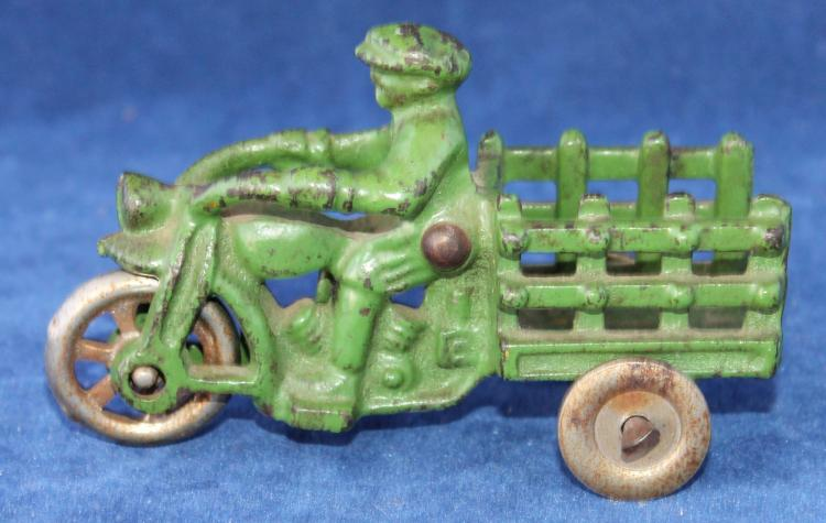 Arcade Toys Cast Iron Motorcycle Delivery Bike With Delivery Man