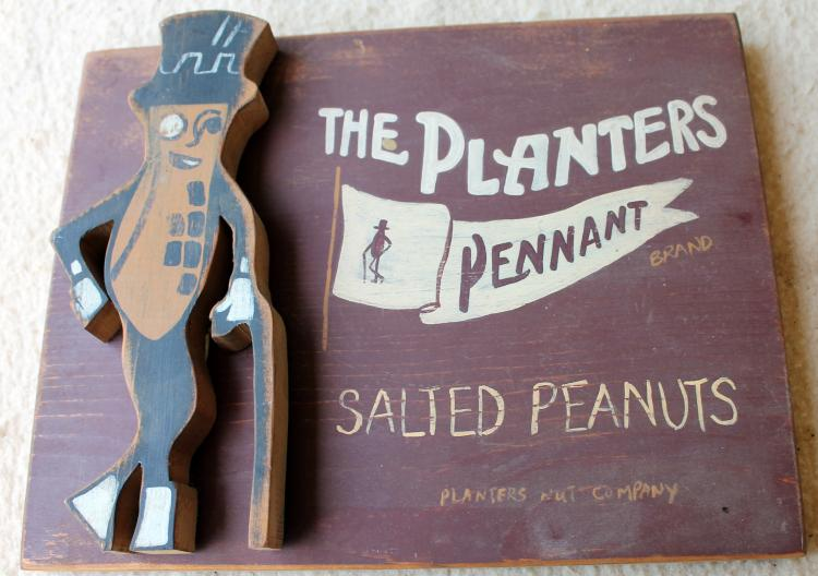 """1950's Planters Peanut Wooden Display Sign """"The Planters Pennant Brand"""""""