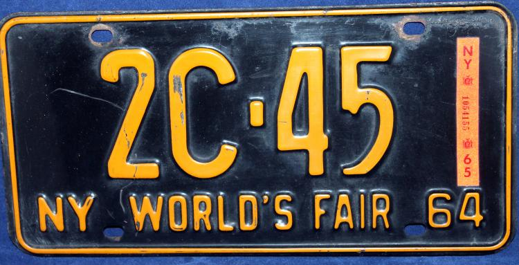 1964 NY World's Fair New York License Plate