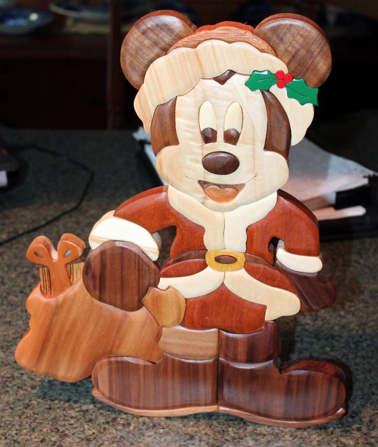 Walt Disney Gordon J. King Santa Mickey Wood Medium Cut Out