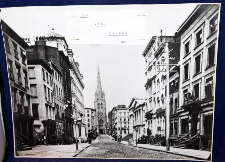 """Original 1880 Photograph Of """"Old Wall Street"""" In New York City"""