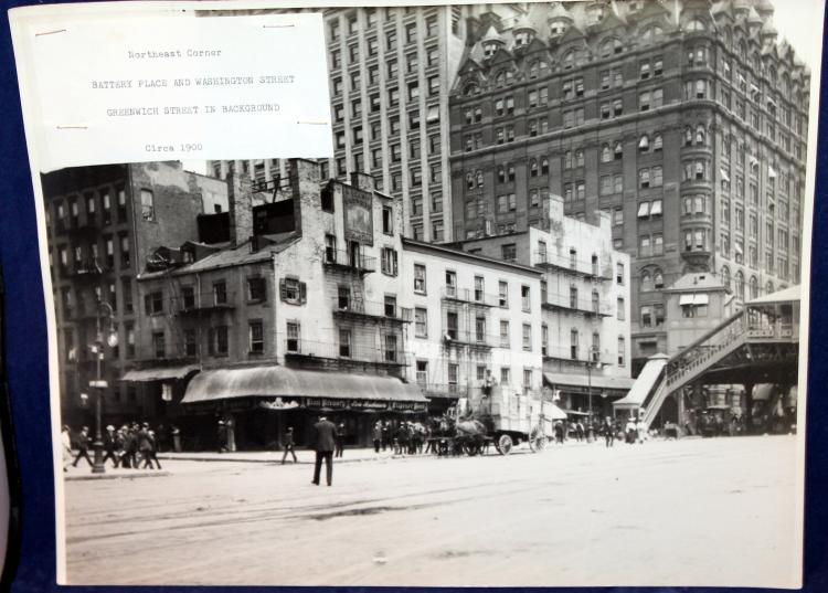 Original 1900 Photograph NE Corner Battery Place And Washington St NYC