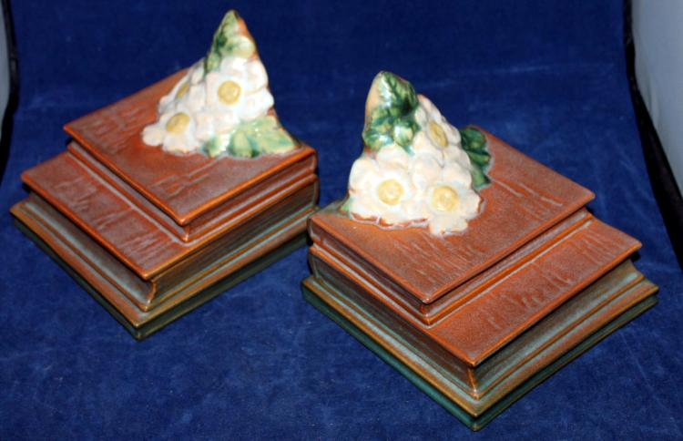 Roseville Pottery White Rose Bookends #7 USA