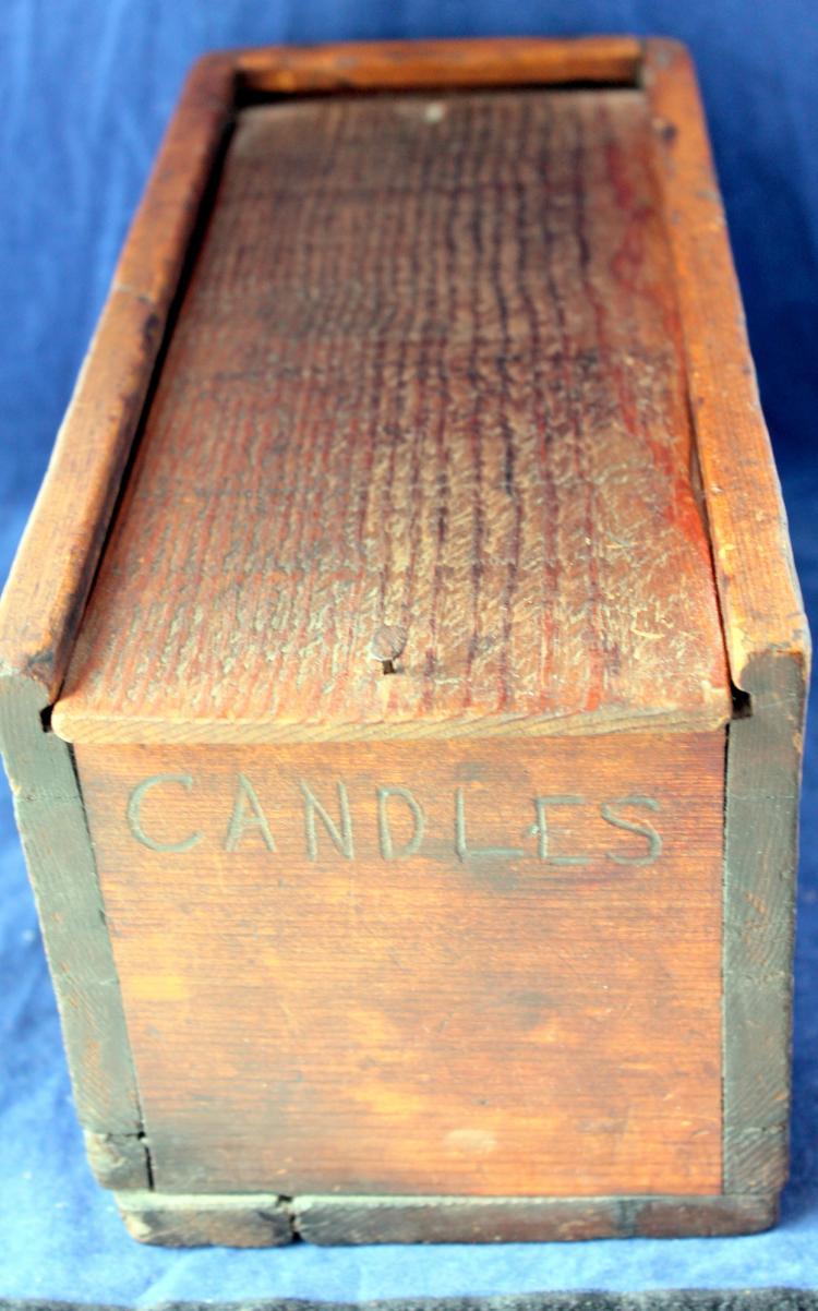 c1940's Primitive Wooden Candle Box