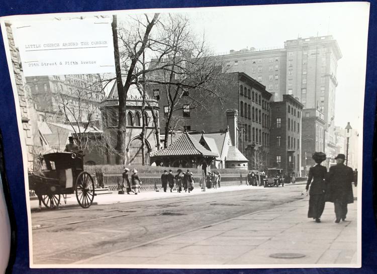 "c1900 Original Photograph ""Little Church Around The Corner"" 29th Street & 5th Avenue NYC"