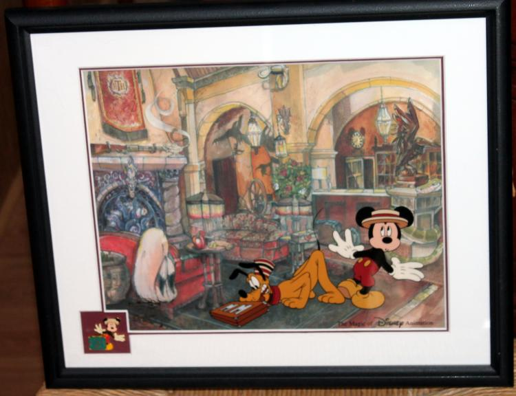 """Framed 2004 Walt Disney Feature Animation """"Checking In"""" Ink & Paint Sericel"""