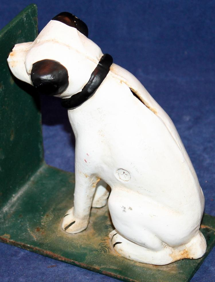 """Pair Of """"Nipper"""" RCA Dog Cast Iron Banks"""