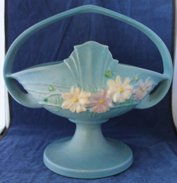 Roseville Pottery Cosmos Basket #358-12 Inch USA