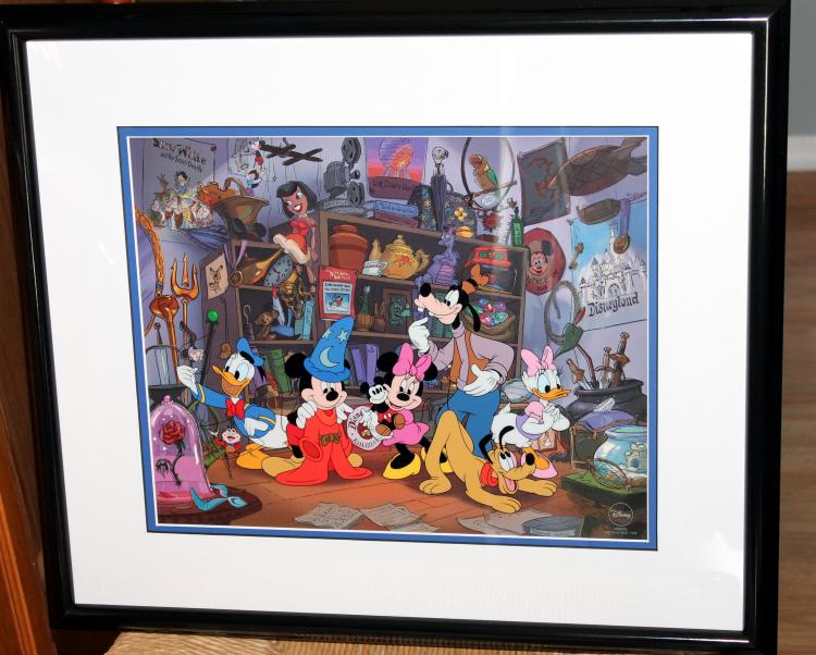 """1998 Framed Walt Disney Sericel """"Fond Memories with Mickey and Friends"""""""