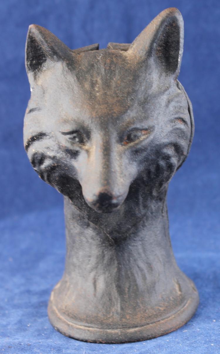 Vintage Cast Iron Wolf's Head Still Bank