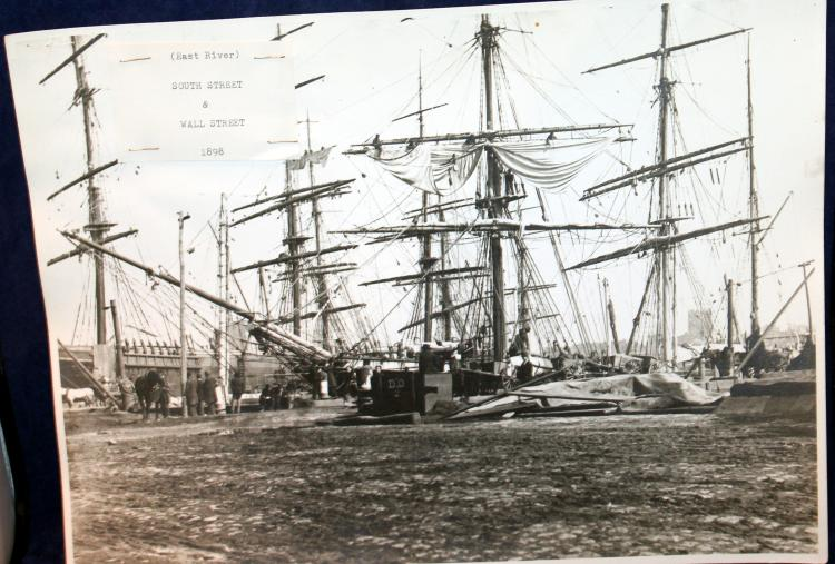 "c1898 Original Photograph Tall Ships ""East River South Street & Wall Street New York City"