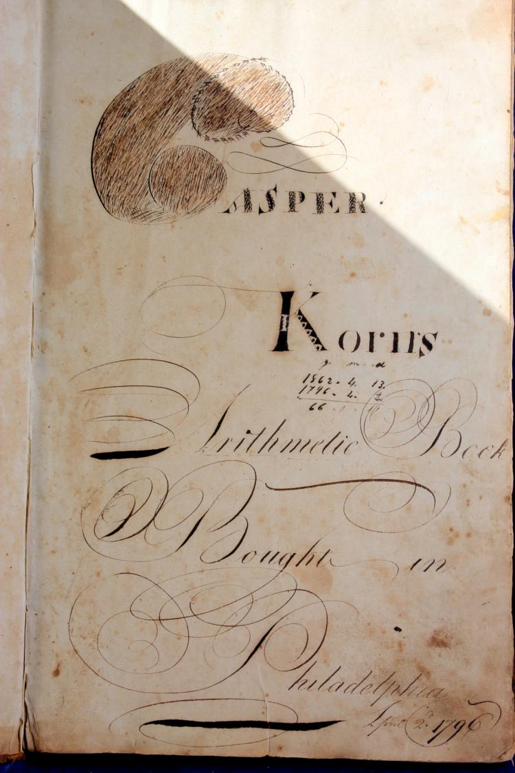 1796 Philadelphia Arithmetic Book Kasper Korn With Birth And Death Records