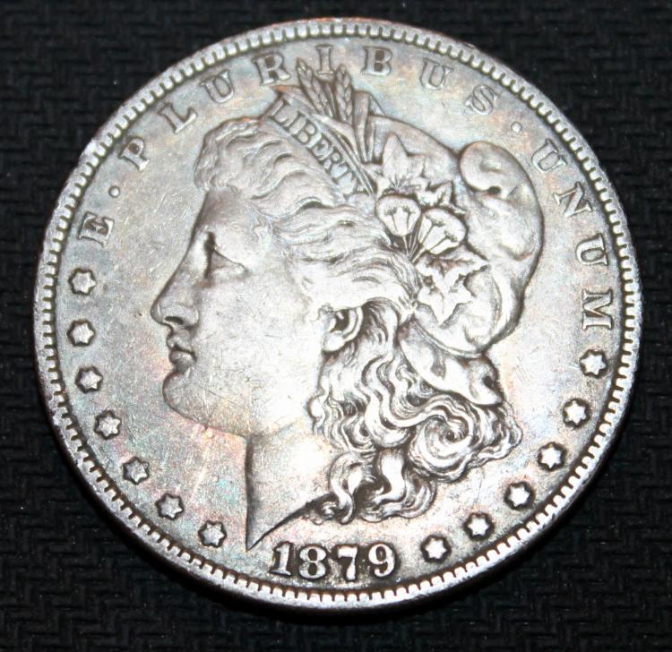 1879 Morgan Silver Dollar Coin Second Reverse VF-20 Or Better