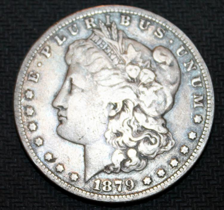 1879-S Morgan Silver Dollar Coin Third Reverse VF-20 Or Better