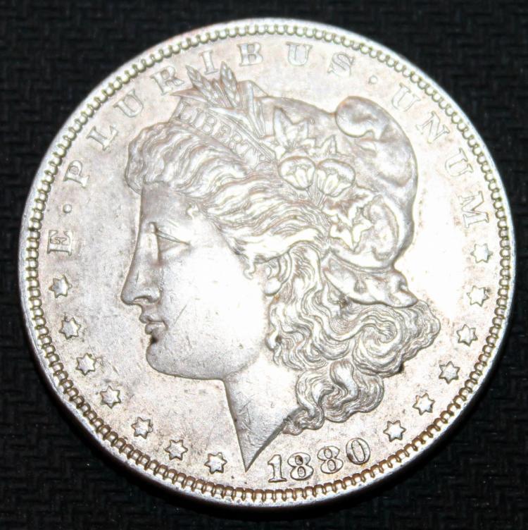 1880 Morgan Silver Dollar Coin VF-20 Or Better
