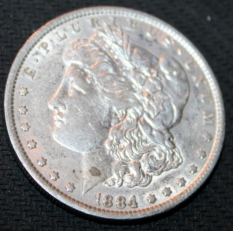 1884 Morgan Silver Dollar Coin EF-40 Or Better