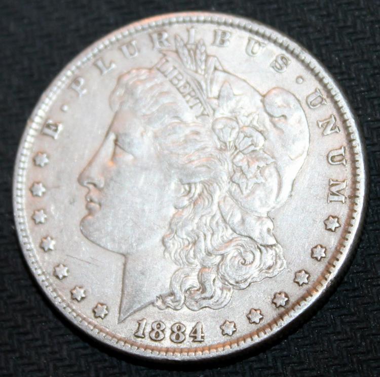 1884 Morgan Silver Dollar Coin VF-20 Or Better