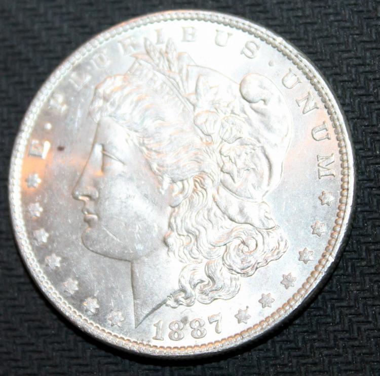 1887 Morgan Silver Dollar Coin EF-40 Or Better