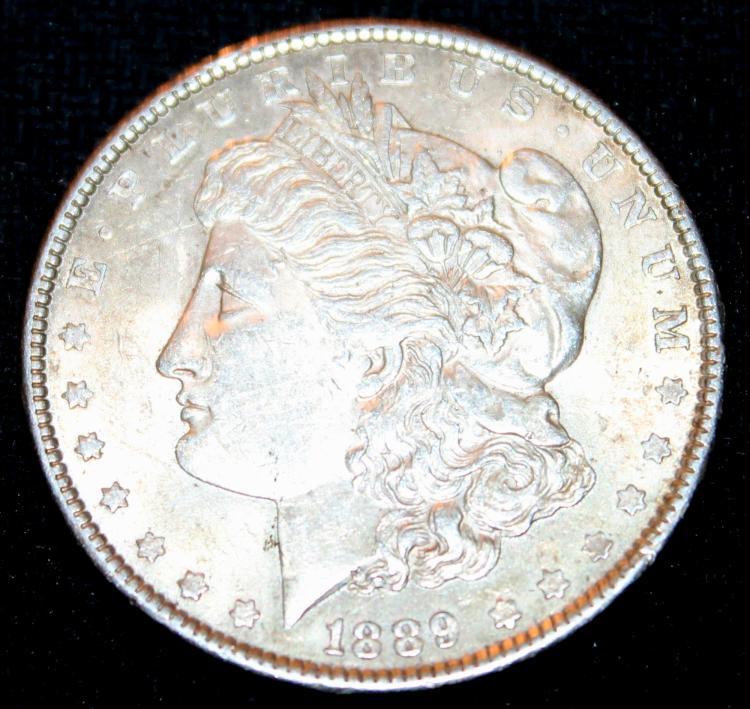 1889 Morgan Silver Dollar Coin EF-40 Or Better