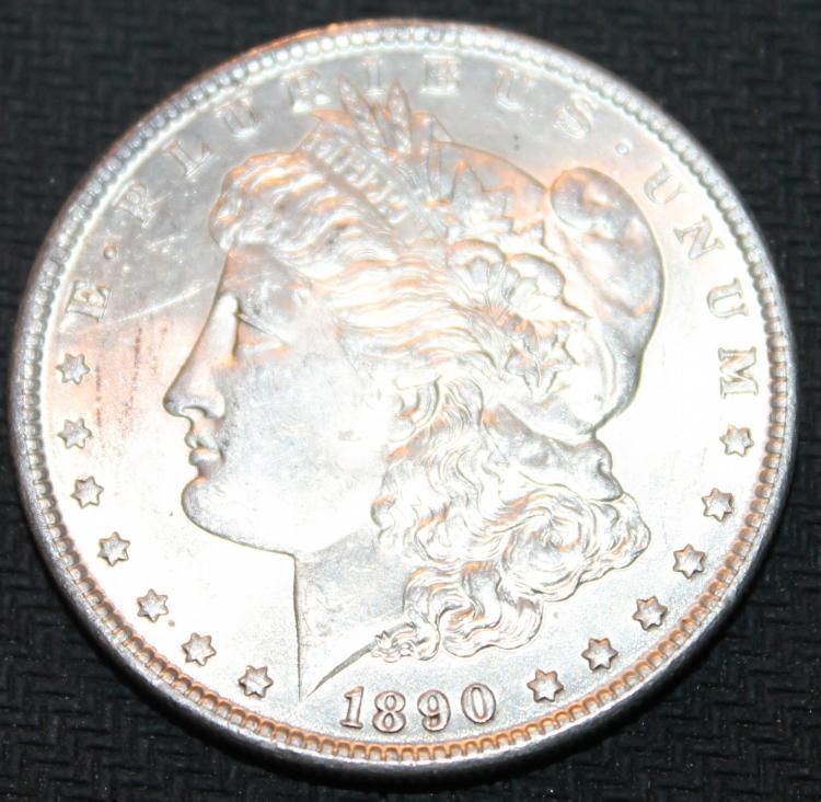 1890 Morgan Silver Dollar Coin EF-40 Or Better