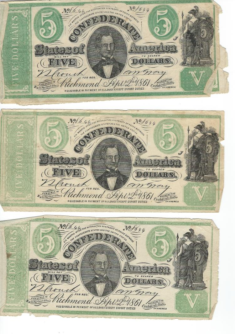 Set Of 4 Contemporary Counterfeit Sept. 2nd 1861 Confederate $5.00 Bills