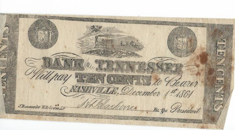 December 1st, 1861 Bank Of Tennessee .10 Cent Bearer Note