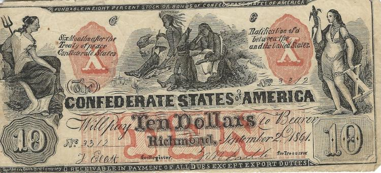Contemporary Confederate State Of America Counterfeit $10.00 Note