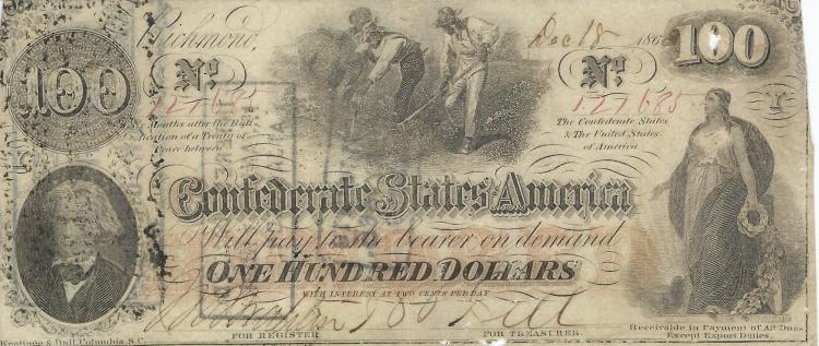 Confederate States Of America $100.00 Bill With Interest Paid Stamps On Back