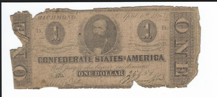 Confederate States Of America $1.00 Note April 6th, 1863