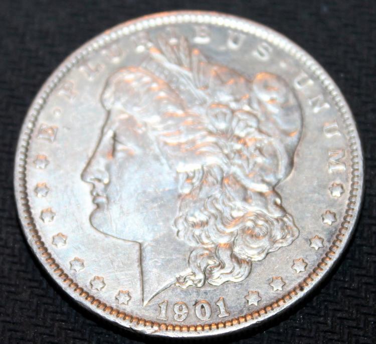 1901 Morgan Silver Dollar Coin VF-20 Or Better