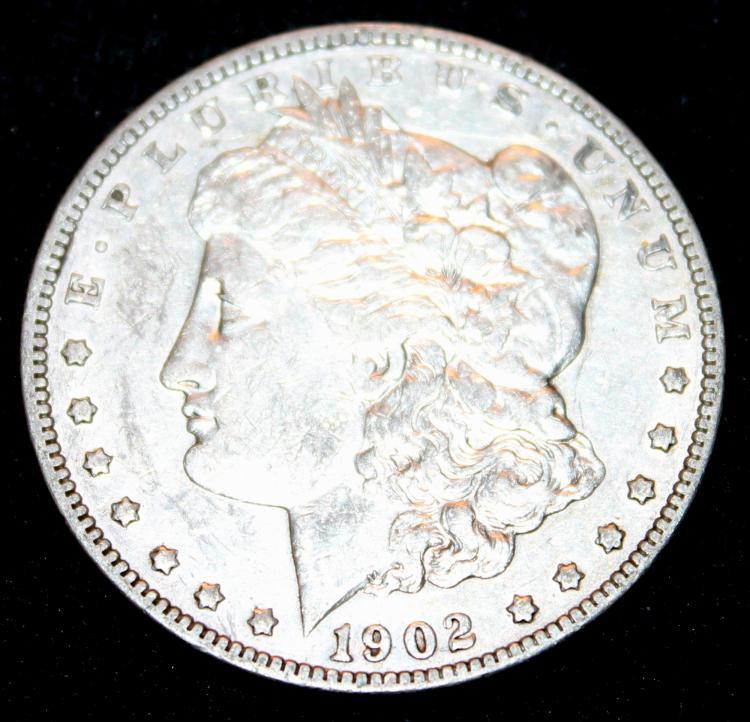 1902 Morgan Silver Dollar Coin VF-20 Or Better