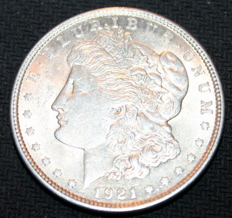 1921 Morgan Silver Dollar Coin EF-40 Or Better