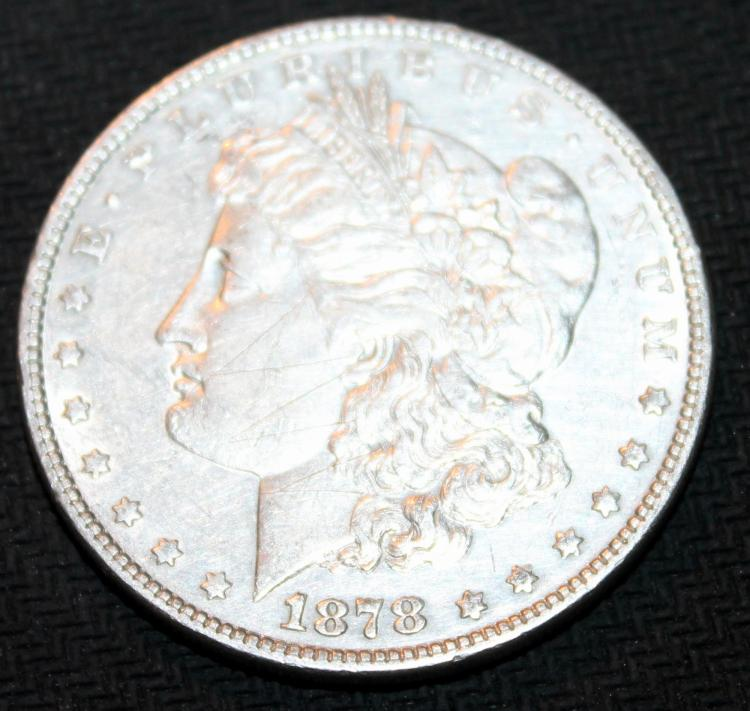 1878 Morgan Silver Dollar Coin Double Tail Feathers EF-40 Or Better