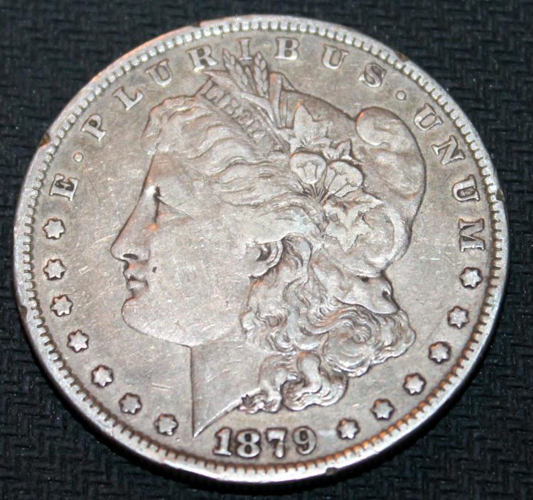 1879 Morgan Silver Dollar Coin Third Reverse VF-20 Or Better