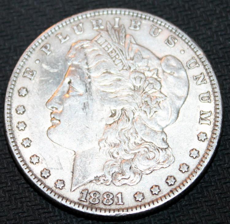1881 Morgan Silver Dollar Coin VF-20 Or Better