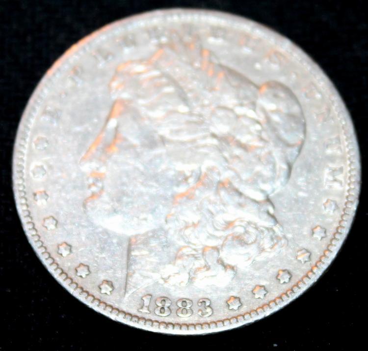 1883 Morgan Silver Dollar Coin VF-20 Or Better