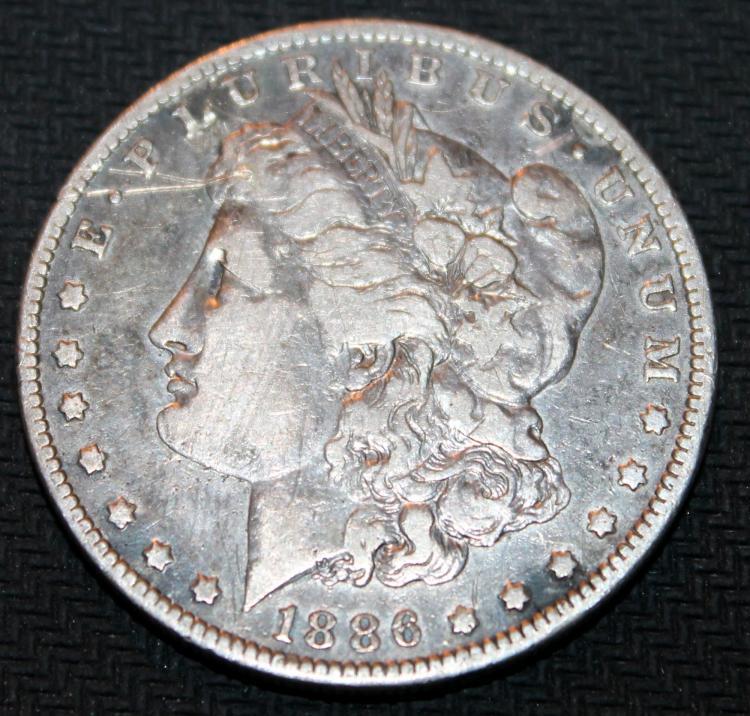 1886-0 Morgan Silver Dollar Coin VF-20 Or Better