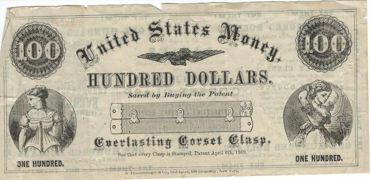 April 6th, 1869 Everlasting Corset Clasp 100 Dollars Saved Advertising Money