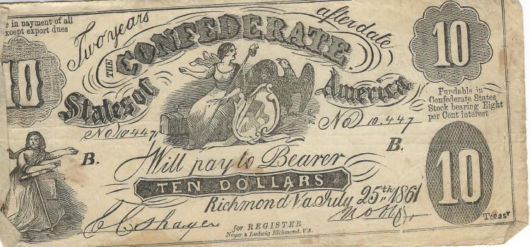 July 25th, 1861 Contemporary Counterfeit $10.00 Confederate States Bill